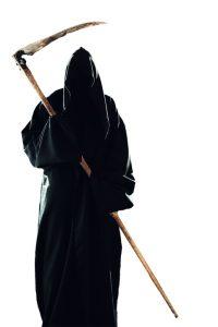 scary scytheman isolated